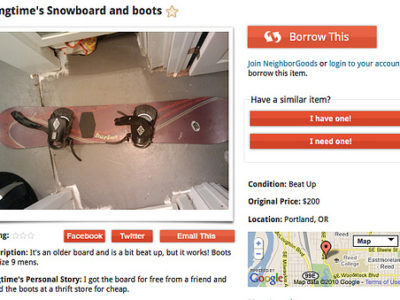 Borrow skis and snowboards on NeighborGoods.net!