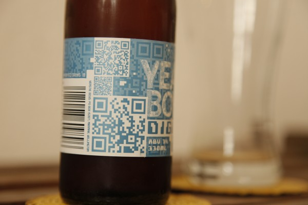 This QR code leads to the beer's recipe.