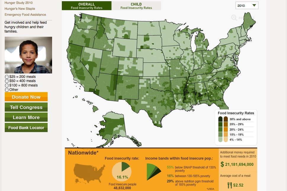 A map of food insecurity in the US