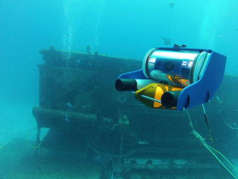 The OpenROV underwater robot in action.