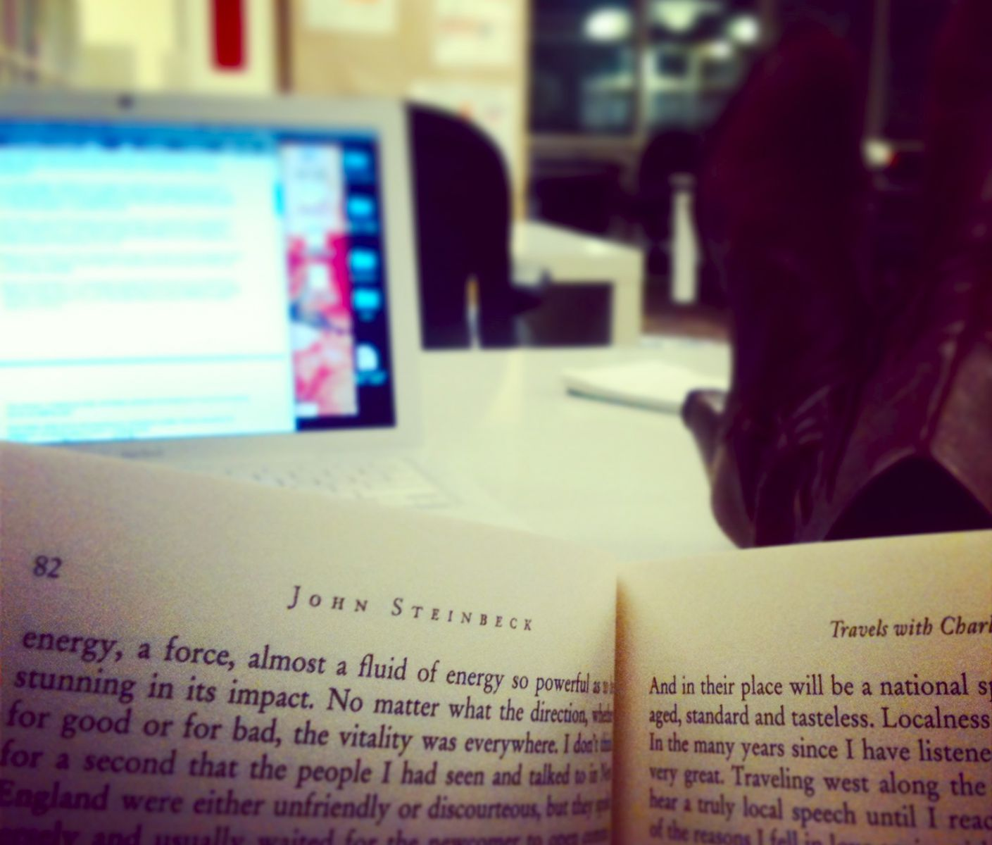 The first and last time I'll put my feet on a rented desk. Reading is another story.