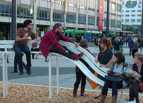 A bench and slide, great for families and hipsters.