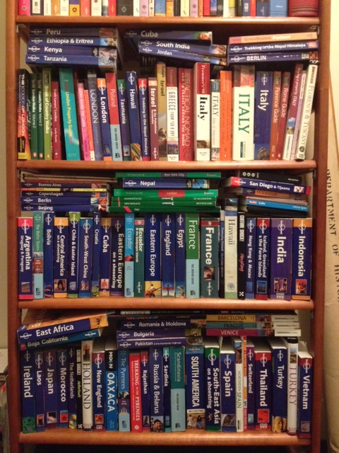 One of my Lonely Planet travel bookshelves.