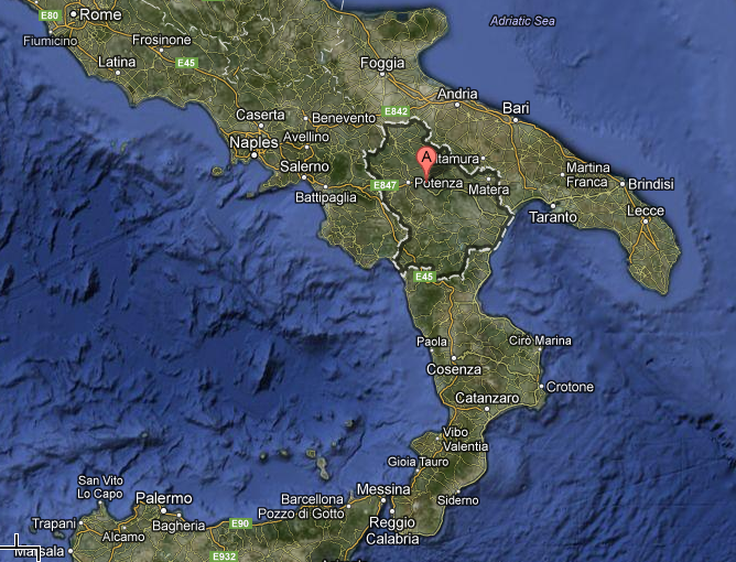The Basilicata region of Italy is located in the arch and ankle region of the boot.