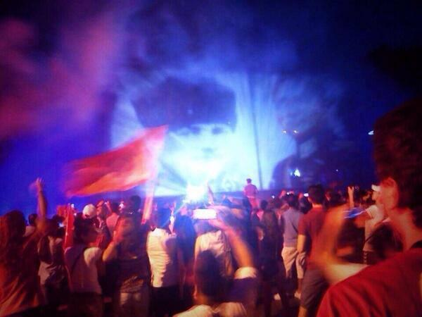 Attaturk projected onto a cloud of tear gas