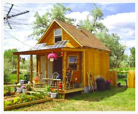 This image shows how LaMar's son is living in a tiny house