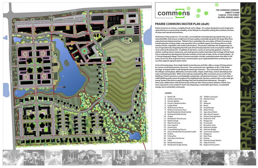 Prarie Commons will be a pedestrian-friendly development built around a 15-acre lake in Olathe, Kansas