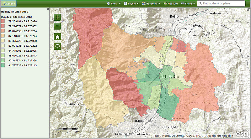EWM GIS Map Medellin - Quality of Life