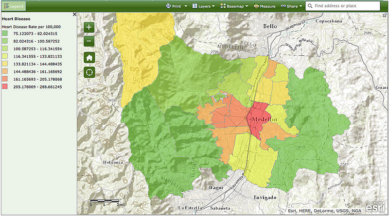 EWM GIS Map Medellin: Heart Disease