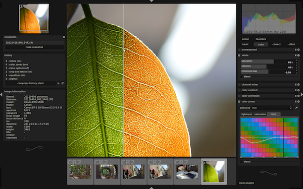 darktable, open source photography tool