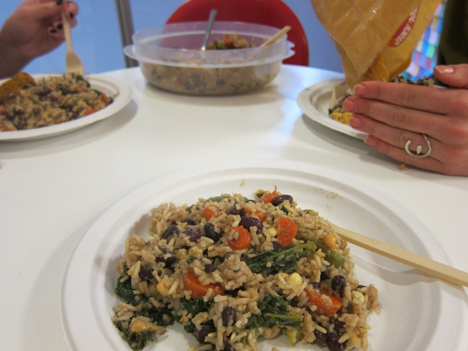 Candace & Rena's lunch bunch (Ali & Steph) sharing rice with beans, kale, corn, carrots, and pumpkin butter.