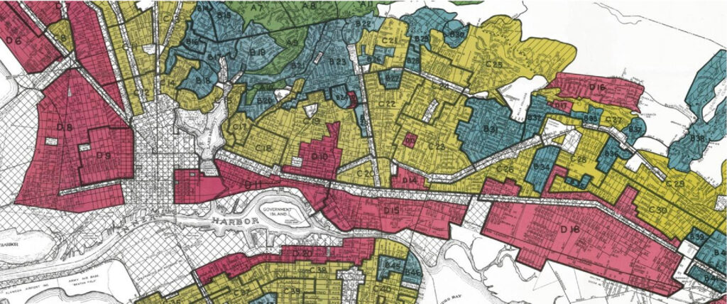 Redlining map; Image credit: Thrivance Group; Whose streets? Black communities sidelined as slow streets reboot redlining for gig workers