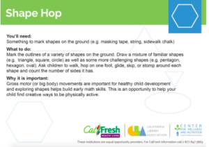 """Shape Hop Program Idea, part of the Curriculum for """"early learning, nutrition and food access for young children"""" program funded by the California Department of Social Services and led by the California Library Association, to supplement meals with lifelong learning about health and wellness. Photo courtesy California Library Association."""