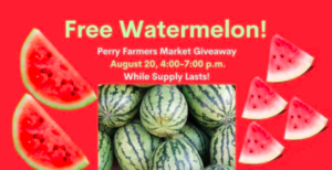 Free Watermelon from the Perry Public Library in Iowa, thanks to a partnership with the Dallas County Health Department, Iowa Department of Public Health, and Telligen. Photo courtesy Perry Public Library.