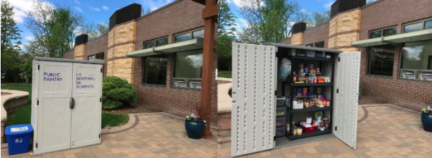 Outdoor free food pantry at a library in Woodstock, Illinois. Photo Credit: Martha Hansen, Assistant Director / Head of Adult Services, Woodstock Public Library, Ill.
