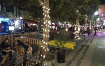 Downtown Mountain View's Castro Street has become an al fresco dining destination. Downtown is more lively than before COVID-19. I love it. Credit: Neal Gorenflo.