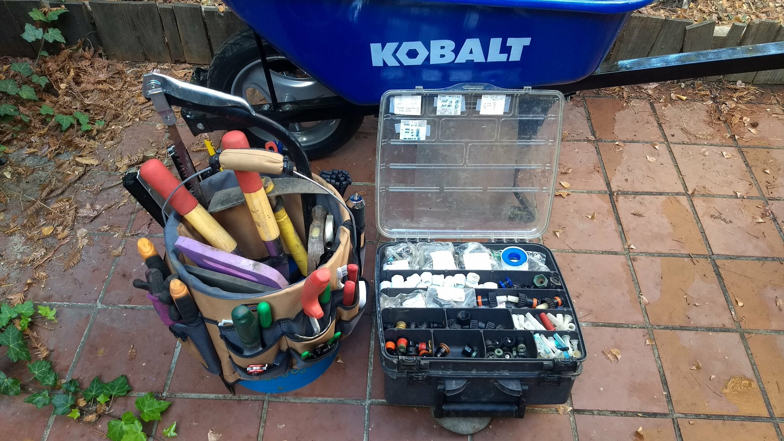 Recently acquired irrigation system tool and parts kit. Credit: Neal Gorenflo