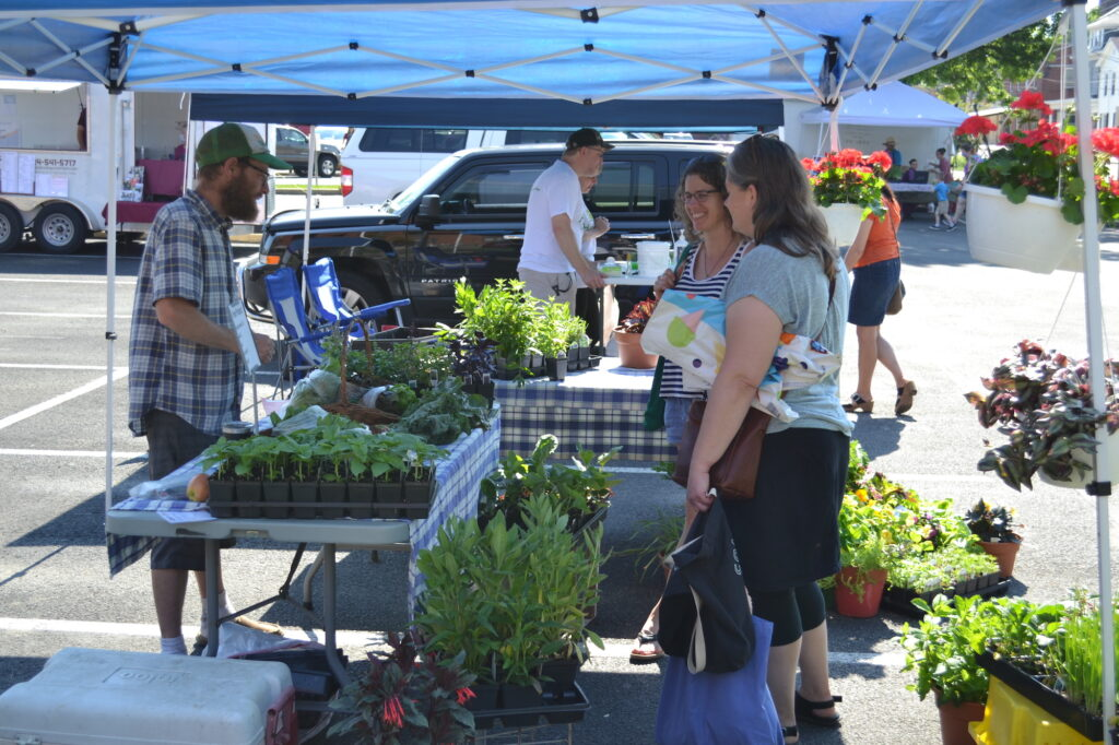 patrons shopping for local food at outdoor farmers' market