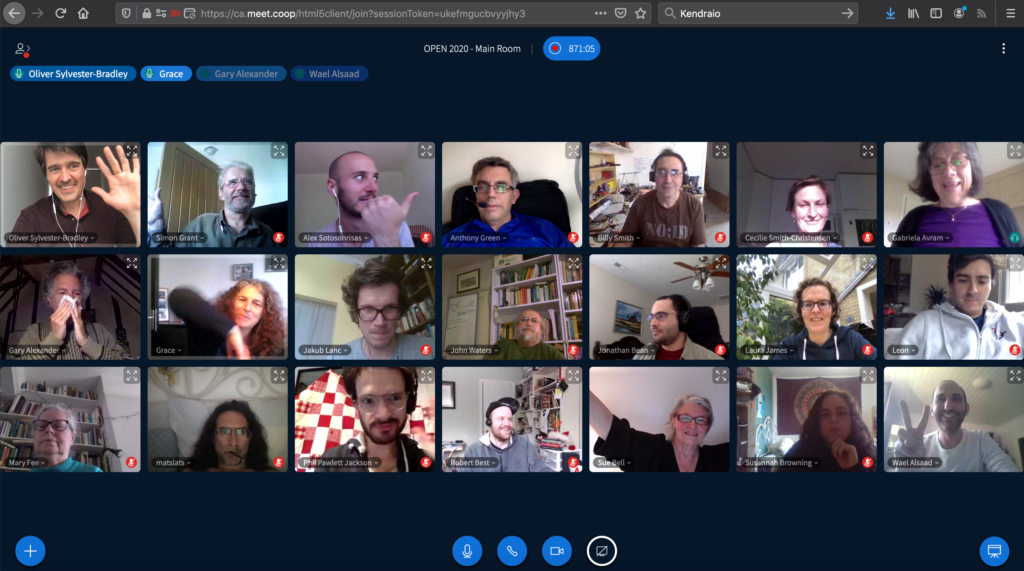 photo of grid of faces on a video conferencing call using meet.coop