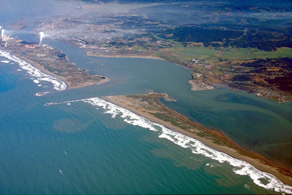 Aerial view of Humboldt Bay and the City of Eureka, all once considered Wiyot land.