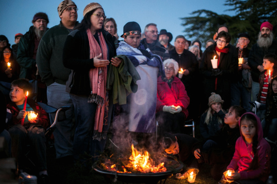 Community members gather for the final Wiyot Candlelight Vigil