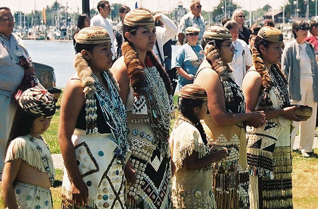 The Wiyot Tribe in Northern California's Humboldt Bay region gather to receive the deed for their native land