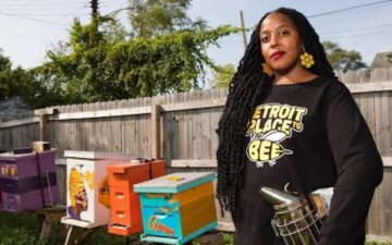 do it ourselves: Nicole Lindsey, co-founder and beekeeper of Detroit Hives, poses for a photo. Credit: Timothy Paule